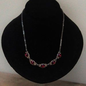 Ruby Red Glass Cabochon Vintage Necklace